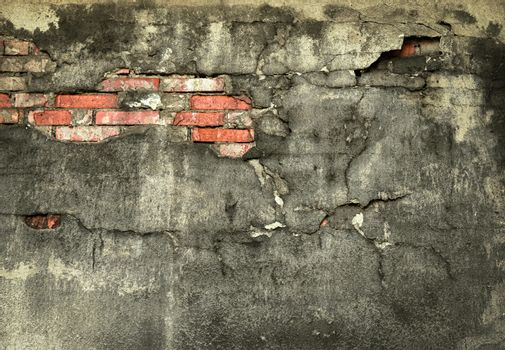 wall with fallen off plaster