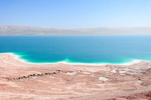 Aerial view Dead Sea coast landscape with therapeutic curative m
