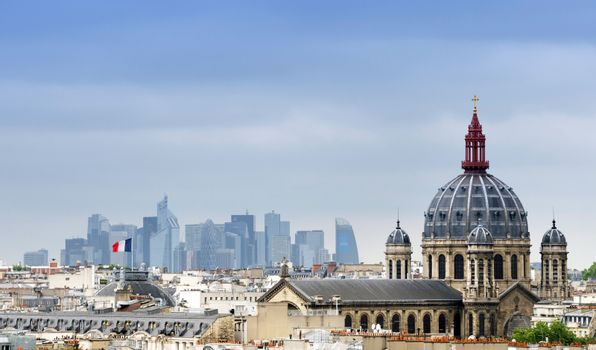 Saint-Augustin Church with La Defense in The Background.