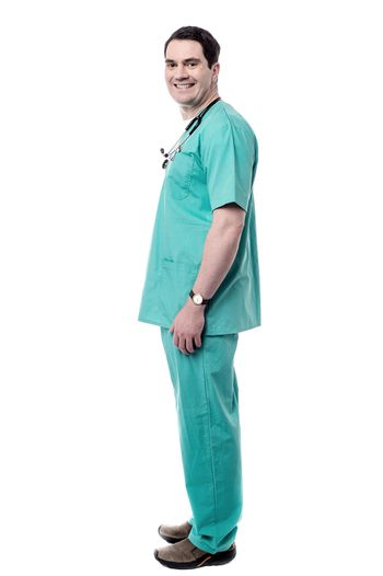 Full length happy male physician.