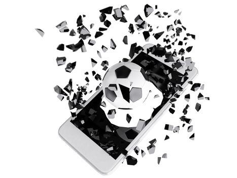 soccer burst out of the smartphone