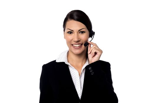 Image of a female support staff posing over white