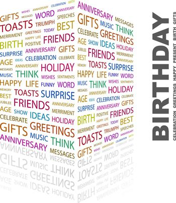 BIRTHDAY. Concept illustration. Graphic tag collection. Wordcloud collage.
