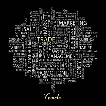 TRADE. Word cloud concept illustration. Wordcloud collage.