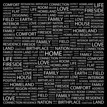 HOME. Word cloud illustration. Tag cloud concept collage.