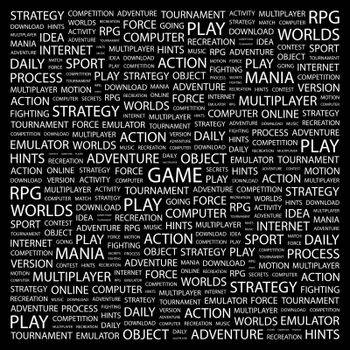 GAME. Concept illustration. Graphic tag collection. Wordcloud collage.