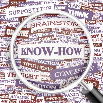 KNOW-HOW. Word cloud illustration. Tag cloud concept collage.