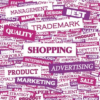 SHOPPING. Word cloud illustration. Tag cloud concept collage.