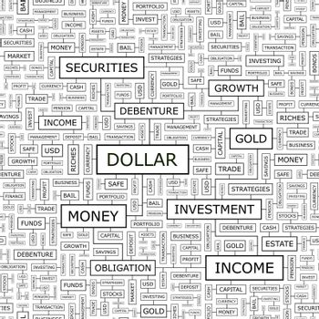 DOLLAR. Seamless pattern. Word cloud illustration.