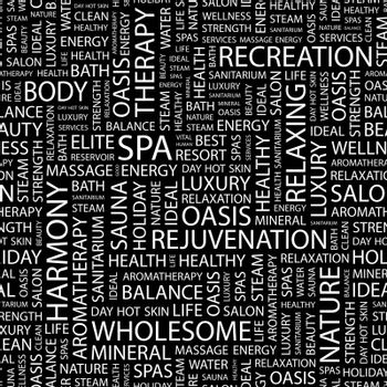 SPA. Seamless pattern. Word cloud illustration.
