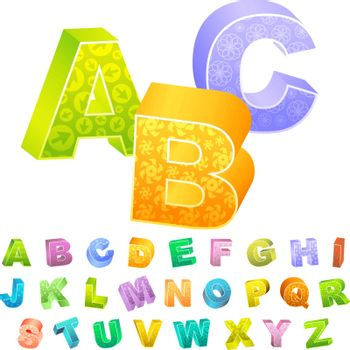 3d alphabet. ABC text illustration.