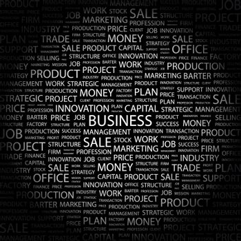 BUSINESS. Word cloud concept illustration. Wordcloud collage.