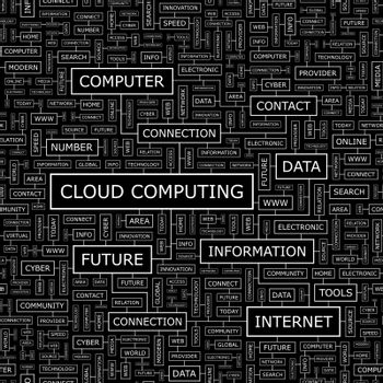CLOUD COMPUTING. Seamless pattern. Word cloud illustration.
