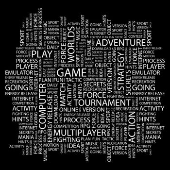 GAME. Word cloud illustration. Tag cloud concept collage.