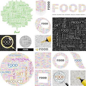 Food. Word cloud illustration. Wordcloud collage. Concept illustration.