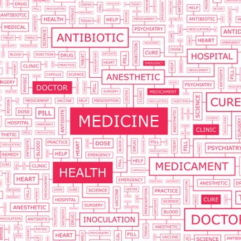 MEDICINE. Word cloud illustration. Tag cloud concept collage.