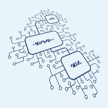 Abstract scheme. Digital illustration. Network communication concept.