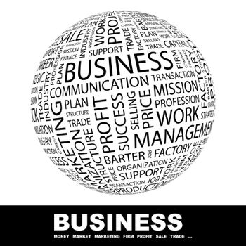 BUSINESS. Concept illustration. Graphic tag collection. Wordcloud collage.