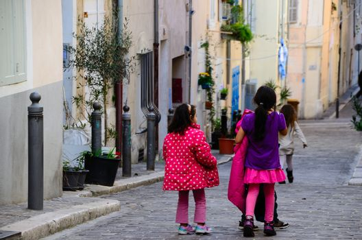 colorful kids in the streets of marseille