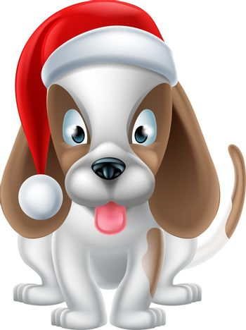 An illustration of a cartoon Puppy Dog wearing a Christmas Santa hat