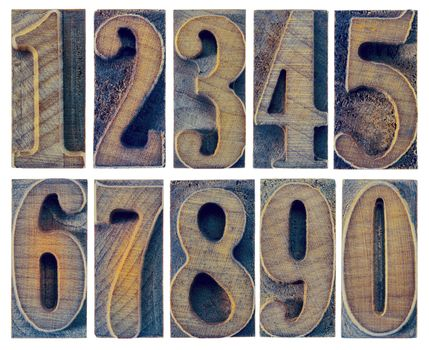 ten numbers from zero to nine in letterpress wood type printing blocks isolated in white