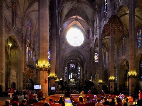 big cathedral from the inside in barcelona panorama