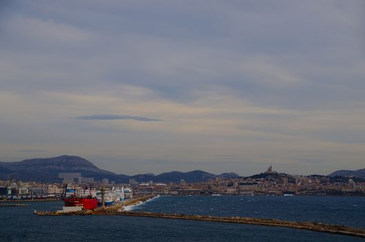Marseille port exit ships with many and long jetty