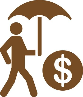 Financial insurance icon from Business Bicolor Set. Vector style: flat symbols, brown color, rounded angles, white background.