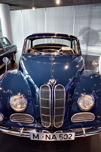 MUNICH, GERMANY-OCTOBER 31, 2014: Classic BMW car on Display in BMW Museum in October 31, 2014, Munich, Republic of Germany
