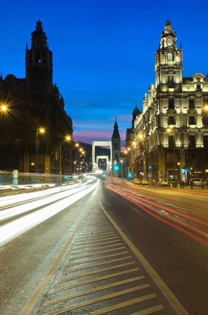 BUDAPEST - JANUARY 10: Traffic at night in Budapest, Hungary on January 10, 2015.