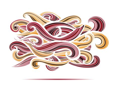 Curl abstract pattern with multicolored waves. Vector illustration