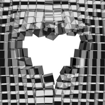 Abstract 3D background with heart. Vector cracked background. Love symbol.