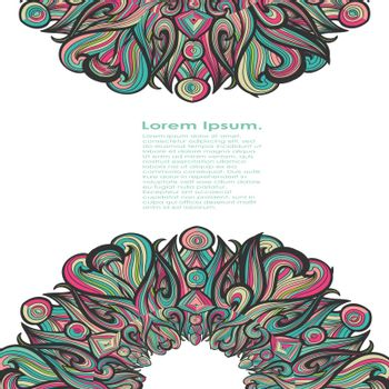 Curl abstract mandala pattern with multicolored waves. Vector illustration. EPS