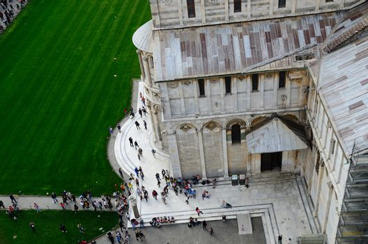 many tourists at Cathedral in the city of Pisa