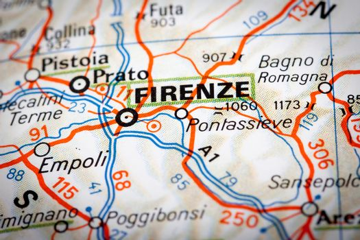 Firenze on a road map