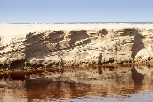 Eroded sand riverbank