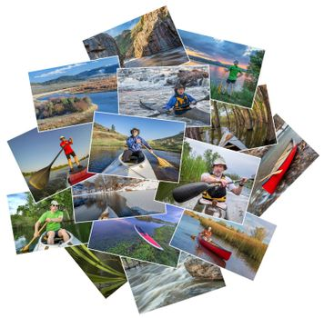 collection of paddling pictures from lakes and rivers of Colorado featuring kayaks, canoes and stand up padleboards  and the same male model - random pile isolated on white