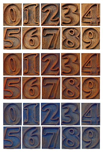 isolated outlined numbers in letterpress wood type - three sets with different wood stain