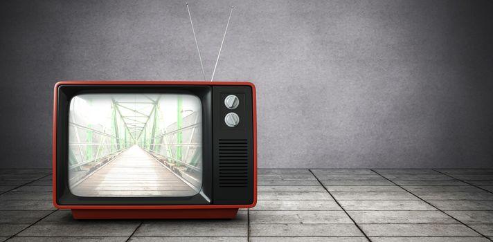 Composite image of retro tv