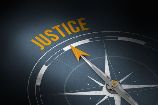Justice against grey background