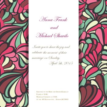 sea vector invitation pattern for wedding day. EPS