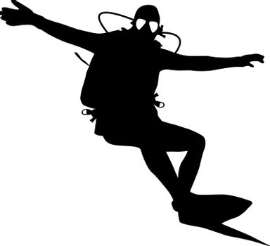Black silhouette scuba divers. Vector illustration.