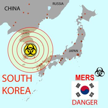 Map the spread of the  Mers Corona Virus.  Vector Illustration.
