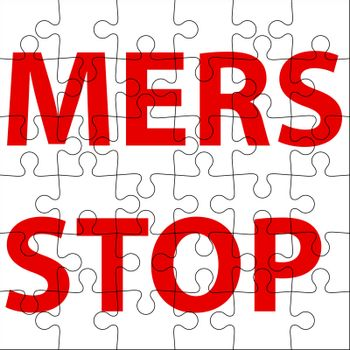 Background  puzzle Stop Mers Corona Virus sign.  Vector Illustration.