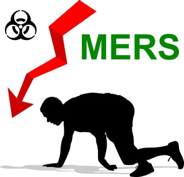 Man struck  Mers Corona Virus sign.  Vector Illustration.