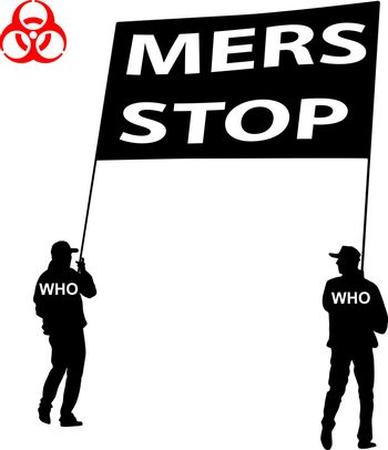 People carry a poster Stop Mers Corona Virus sign.  Vector Illustration.