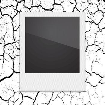 Retro Polaroid photo frame on the background cracks desert. Vector illustration