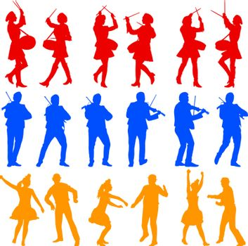 Color silhouettes of beautiful mans and womans. Drummer, violinist and acrobat on white background. Vector illustration.