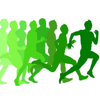 Set of green silhouettes. Runners on sprint, men. vector illustration.