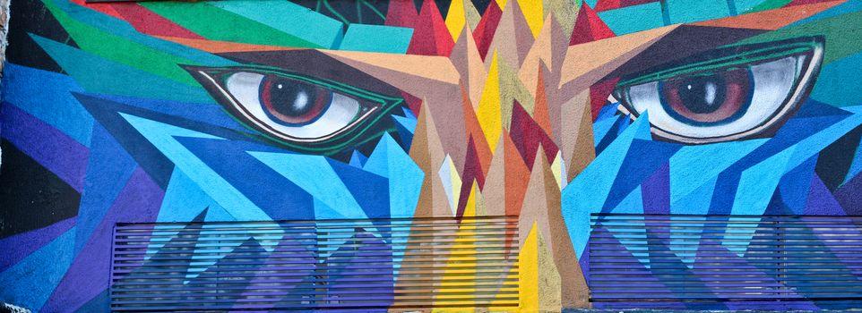 Sao Paulo, Brazil July 18, 2015: Graffiti of unidentified artist on the wall of the Batman alley in Sao Paulo Brazil.